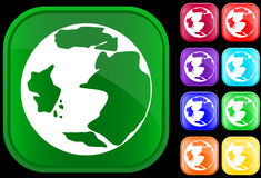 Earth icon. Icon of earth on shiny square buttons Stock Photos