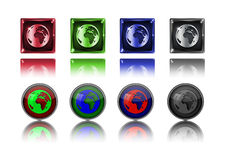 Earth icon button. Stock Images