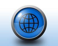 Earth icon. Circular glossy button. Stock Photos