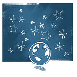 Earth icon, at night vector illustration