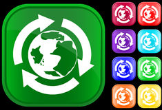 Earth icon in recycling circle. Earth icon in the recycling circle on shiny square buttons Royalty Free Illustration