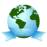 Earth icon with ribbon banner around. Stock Image