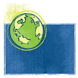 Earth icon, simple grunge chalk drawing Stock Images