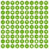 100 earth icons hexagon green. 100 earth icons set in green hexagon isolated vector illustration Stock Photo