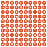 100 earth icons hexagon orange. 100 earth icons set in orange hexagon isolated vector illustration Royalty Free Stock Photos