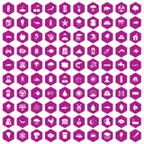 100 earth icons hexagon violet. 100 earth icons set in violet hexagon isolated vector illustration royalty free illustration