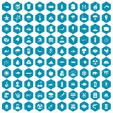 100 earth icons sapphirine violet. 100 earth icons set in sapphirine hexagon isolated vector illustration royalty free illustration