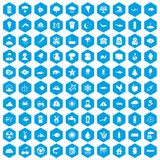 100 earth icons set blue. 100 earth icons set in blue hexagon isolated vector illustration Royalty Free Stock Image