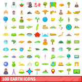 100 earth icons set, cartoon style. 100 earth icons set in cartoon style for any design vector illustration Stock Illustration