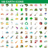 100 earth icons set, cartoon style Stock Photography