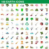 100 earth icons set, cartoon style. 100 earth icons set in cartoon style for any design illustration vector illustration