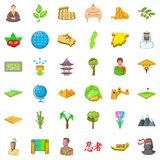 Earth icons set, cartoon style Stock Photo