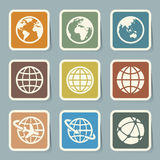 Earth  icons set. Royalty Free Stock Photos