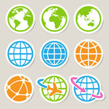 Earth  icons set. Royalty Free Stock Photography
