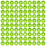 100 earth icons set green circle. Isolated on white background vector illustration Vector Illustration