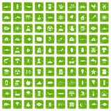 100 earth icons set grunge green. 100 earth icons set in grunge style green color  on white background vector illustration Royalty Free Stock Photography