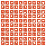 100 earth icons set grunge orange. 100 earth icons set in grunge style orange color isolated on white background vector illustration Stock Photos