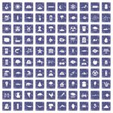 100 earth icons set grunge sapphire. 100 earth icons set in grunge style sapphire color isolated on white background vector illustration Royalty Free Stock Photography