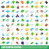 100 earth icons set, isometric 3d style Royalty Free Stock Photos