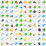 100 earth icons set, isometric 3d style. 100 earth icons set in isometric 3d style for any design vector illustration Stock Images