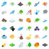 Earth icons set, isometric style Stock Image