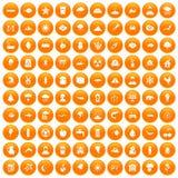 100 earth icons set orange. 100 earth icons set in orange circle isolated on white vector illustration Royalty Free Illustration
