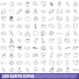 100 earth icons set, outline style. 100 earth icons set in outline style for any design vector illustration stock illustration