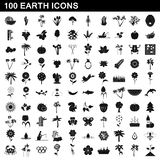 100 earth icons set, simple style. 100 earth icons set in simple style for any design illustration stock illustration