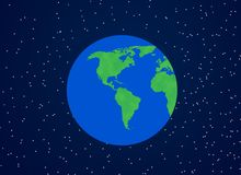 Earth illustration. Image of world presented as green and ecological, two dominant colours; blue and green Stock Image