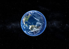 Earth in space. A illustration of 3D Earth closer to real. Rendered with high quality edited in photoshop textures with optimal render settigns. With translucent Royalty Free Stock Photo