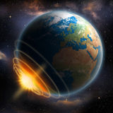 Earth Impact. In space, apocalypse concept Royalty Free Stock Image