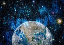 Free Earth In Outer Space, Galaxies And Planets . Elements Of This Image Furnished By NASA. Stock Image - 121545791