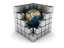 Earth in industry. Abstract 3d illustration of earth in steel cubes, industry symbol Stock Photos