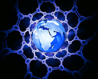 Earth inside a carbon nanotube Royalty Free Stock Photos
