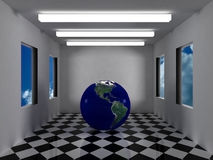 Earth inside futuristic grey room. With white neons and sky on the windows,bumps and scratches on earth surface Stock Photography