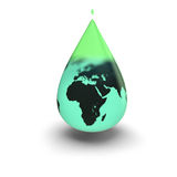 Earth inside green water drop Royalty Free Stock Images
