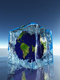Earth inside ice cube. Earth frozen inside ice cube Stock Photography