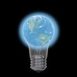 Earth inside lightbulb Stock Photos