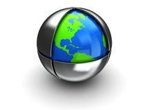 Earth inside metal sphere Royalty Free Stock Image
