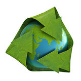 Earth inside a recycling symbol stock illustration