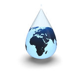 Earth inside water drop Stock Images