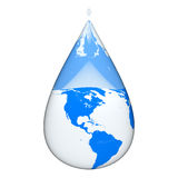 Earth inside water drop Stock Image