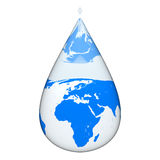 Earth inside water drop Royalty Free Stock Images