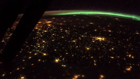 Earth and Italy from ISS. Elements of this video furnished by NASA. Italy lit night lights stock footage
