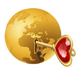 The earth with a key in it Stock Photo