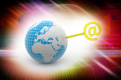 Earth and key, internet concept Stock Photo