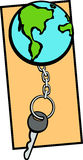 earth keychain and key vector illustration Stock Images