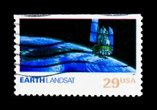 Earth, Landsat, Space Exploration Issue serie, circa 1991. MOSCOW, RUSSIA - NOVEMBER 24, 2017: A stamp printed in USA shows Earth, Landsat, Space Exploration royalty free stock images