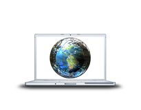 Earth  on laptop screen Royalty Free Stock Image