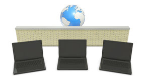 Earth and laptops. With abstract firewall in the middle Stock Images